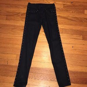 Pants - Black studded skinny low waist pants
